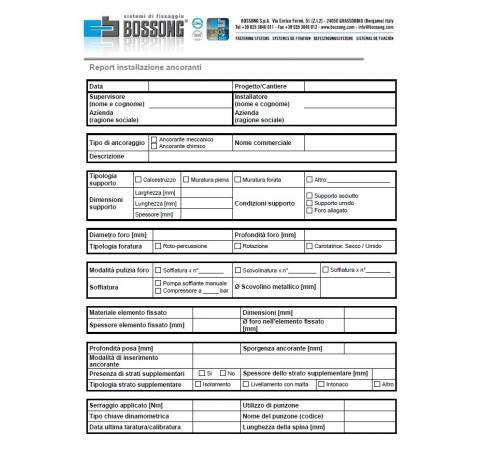 Informe de instalación de anclajes